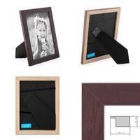 2er Set Bilderrahmen 15x20 cm Nuss Modern Massivholz-Rahmen mit Glasscheibe und Zubehör / Fotorahmen  – Bild 2