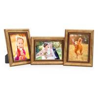 3er Set Bilderrahmen 15x20 cm Gold Barock Antik Massivholz mit Glasscheibe und Zubehör / Fotorahmen / Barock-Rahmen