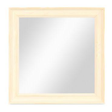 Wand-Spiegel 24x24 cm im Holzrahmen Skandinavisches Design Weiss Quadratisch / Spiegelfläche 20x20 cm