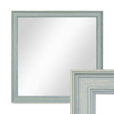 Wand-Spiegel 34x34 cm im Holzrahmen Skandinavisches Design Petrol Quadratisch / Spiegelfläche 30x30 cm