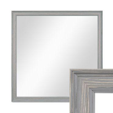 Wand-Spiegel 44x44 cm im Holzrahmen Skandinavisches Design Grau-Braun Quadratisch / Spiegelfläche 40x40 cm