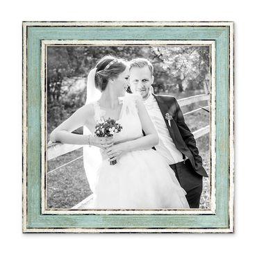 Bilderrahmen Pastell / Alt-Weiß Hellblau 20x20 cm Massivholz mit Vintage Look / Fotorahmen / Wechselrahmen