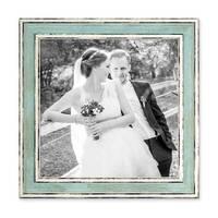 Bilderrahmen Pastell / Alt-Weiß Hellblau 20x20 cm Massivholz mit Vintage Look / Fotorahmen / Wechselrahmen – Bild 1