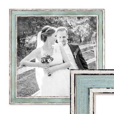 Bilderrahmen Pastell / Alt-Weiß Hellblau 30x30 cm Massivholz mit Vintage Look / Fotorahmen / Wechselrahmen