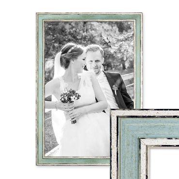 Bilderrahmen Pastell / Alt-Weiß Hellblau 30x42 cm / DIN A3 Massivholz mit Vintage Look / Fotorahmen / Wechselrahmen