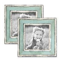 2er Set Bilderrahmen Pastell / Alt-Weiß Hellblau 10x10 cm Massivholz mit Vintage Look / Fotorahmen / Wechselrahmen – Bild 1