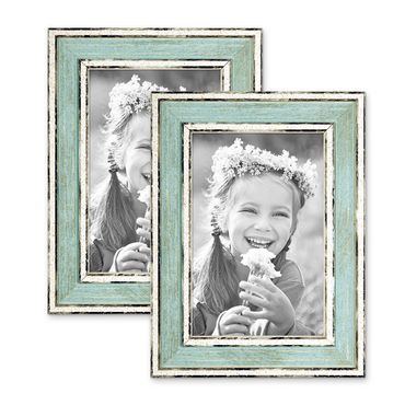 2er Set Bilderrahmen Pastell / Alt-Weiß Hellblau 10x15 cm Massivholz mit Vintage Look / Fotorahmen / Wechselrahmen