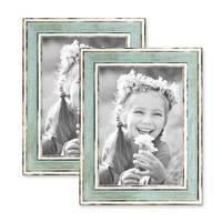 2er Set Bilderrahmen Pastell / Alt-Weiß Hellblau 13x18 cm Massivholz mit Vintage Look / Fotorahmen / Wechselrahmen