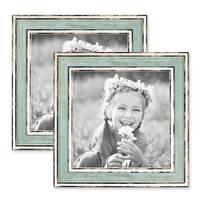 2er Set Bilderrahmen Pastell / Alt-Weiß Hellblau 15x15 cm Massivholz mit Glasscheibe und Aufsteller und Zubehör / Fotorahmen / Wechselrahmen – Bild 1