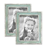 2er Set Bilderrahmen Pastell / Alt-Weiß Hellblau 15x20 cm Massivholz mit Vintage Look / Fotorahmen / Wechselrahmen – Bild 1