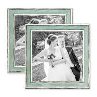 2er Set Bilderrahmen Pastell / Alt-Weiß Hellblau 20x20 cm Massivholz mit Vintage Look / Fotorahmen / Wechselrahmen – Bild 1
