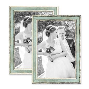 2er Set Bilderrahmen Pastell / Alt-Weiß Hellblau 21x30 cm / DIN A4 Massivholz mit Vintage Look / Fotorahmen / Wechselrahmen