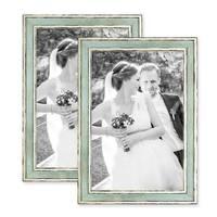 2er Bilderrahmen-Set 21x30 cm / DIN A4 Pastell Vintage Look Hellblau