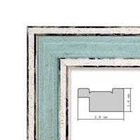 2er Set Bilderrahmen Pastell / Alt-Weiß Hellblau 30x30 cm Massivholz mit Vintage Look / Fotorahmen / Wechselrahmen – Bild 2