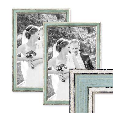 2er Set Bilderrahmen Pastell / Alt-Weiß Hellblau 30x42 cm / DIN A3 Massivholz mit Vintage Look / Fotorahmen / Wechselrahmen