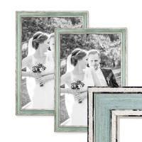 2er Set Bilderrahmen Pastell / Alt-Weiß Hellblau 30x42 cm / DIN A3 Massivholz mit Vintage Look / Fotorahmen / Wechselrahmen – Bild 1
