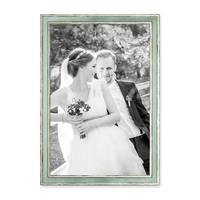 2er Set Bilderrahmen Pastell / Alt-Weiß Hellblau 30x42 cm / DIN A3 Massivholz mit Vintage Look / Fotorahmen / Wechselrahmen – Bild 4