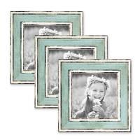 3er Set Bilderrahmen Pastell / Alt-Weiß Hellblau 10x10 cm Massivholz mit Vintage Look / Fotorahmen / Wechselrahmen – Bild 1