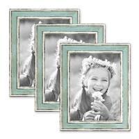 3er Set Bilderrahmen Pastell / Alt-Weiß Hellblau 18x24 cm Massivholz mit Vintage Look / Fotorahmen / Wechselrahmen – Bild 1