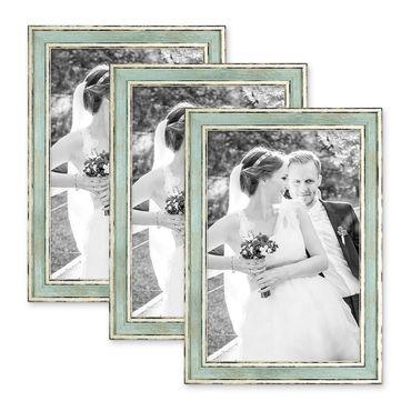 3er Set Bilderrahmen Pastell / Alt-Weiß Hellblau 20x30 cm Massivholz mit Vintage Look / Fotorahmen / Wechselrahmen