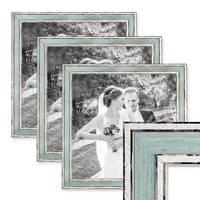 3er Set Bilderrahmen Pastell / Alt-Weiß Hellblau 30x30 cm Massivholz mit Vintage Look / Fotorahmen / Wechselrahmen – Bild 1