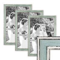 3er Set Bilderrahmen Pastell / Alt-Weiß Hellblau 30x45 cm Massivholz mit Vintage Look / Fotorahmen / Wechselrahmen – Bild 1