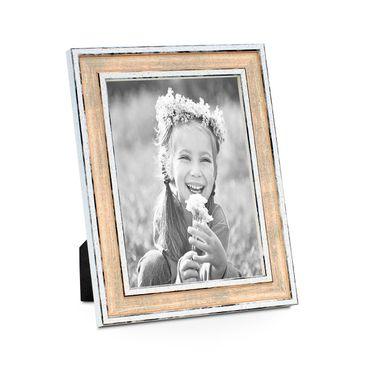 Bilderrahmen Pastell / Alt-Weiß Rosa 10x15 cm Massivholz mit Vintage Look / Fotorahmen / Wechselrahmen