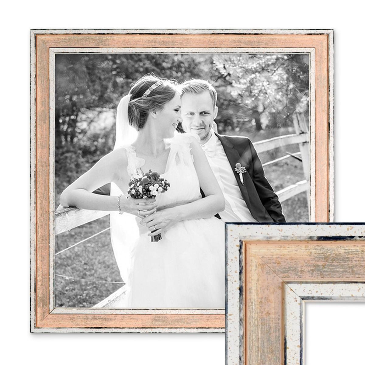 Bilderrahmen Pastell / Alt-Weiß Rosa 30x30 cm Massivholz mit Vintage ...