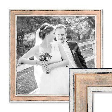 Bilderrahmen Pastell / Alt-Weiß Rosa 30x30 cm Massivholz mit Vintage Look / Fotorahmen / Wechselrahmen