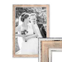 Bilderrahmen Pastell / Alt-Weiß Rosa 30x45 cm Massivholz mit Vintage Look / Fotorahmen / Wechselrahmen – Bild 1