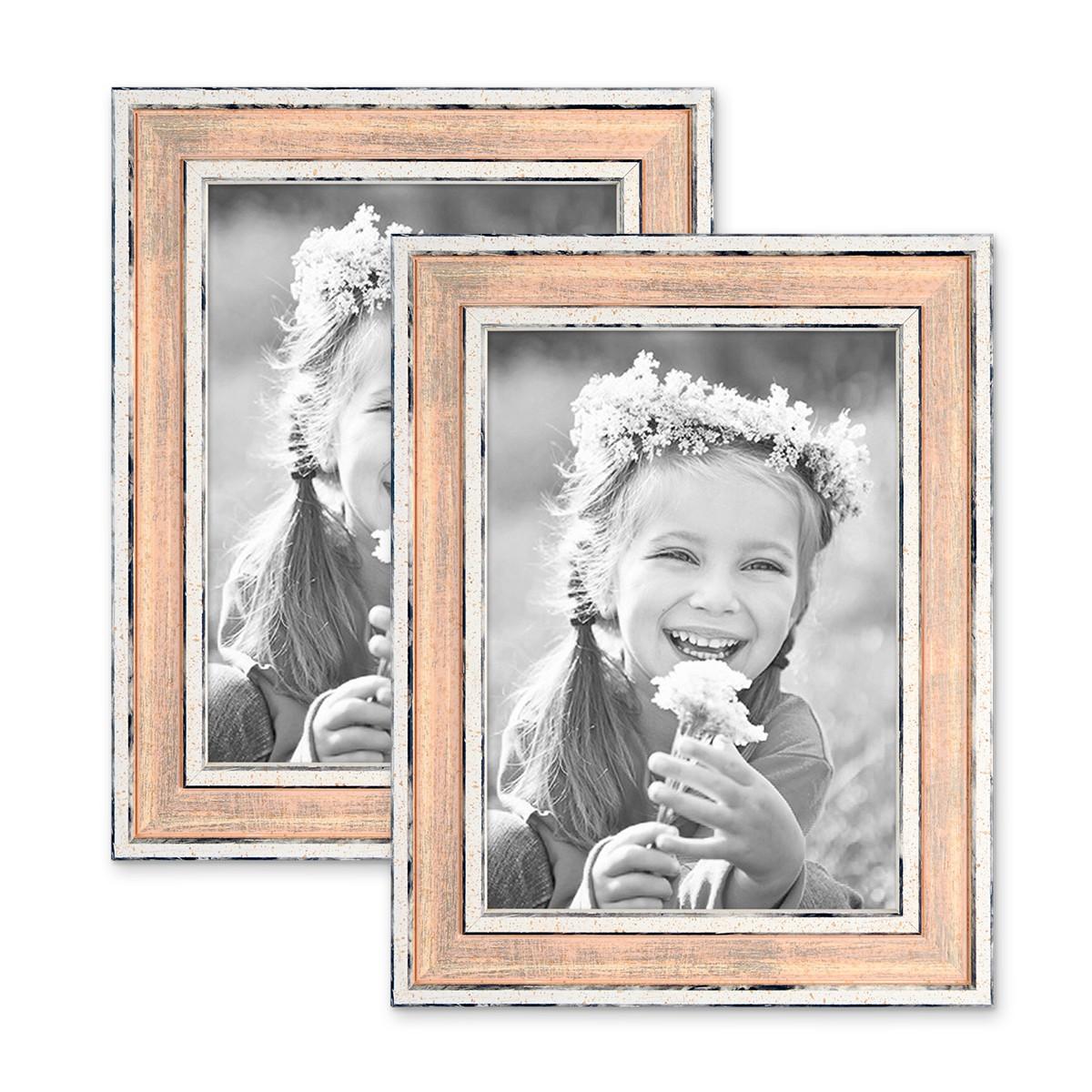 2er Set Bilderrahmen Pastell / Alt-Weiß Rosa 13x18 cm Massivholz mit ...