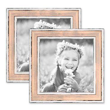 2er Set Bilderrahmen Pastell / Alt-Weiß Rosa 15x15 cm Massivholz mit Glasscheibe und Aufsteller und Zubehör / Fotorahmen / Wechselrahmen