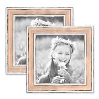 2er Bilderrahmen-Set 15x15 cm Pastell Vintage Look Rosa