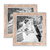 2er Set Bilderrahmen Pastell / Alt-Weiß Rosa 20x20 cm Massivholz mit Vintage Look / Fotorahmen / Wechselrahmen – Bild 1