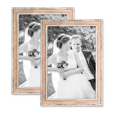 2er Set Bilderrahmen Pastell / Alt-Weiß Rosa 20x30 cm Massivholz mit Vintage Look / Fotorahmen / Wechselrahmen
