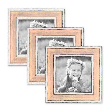 3er Set Bilderrahmen Pastell / Alt-Weiß Rosa 10x10 cm Massivholz mit Vintage Look / Fotorahmen / Wechselrahmen