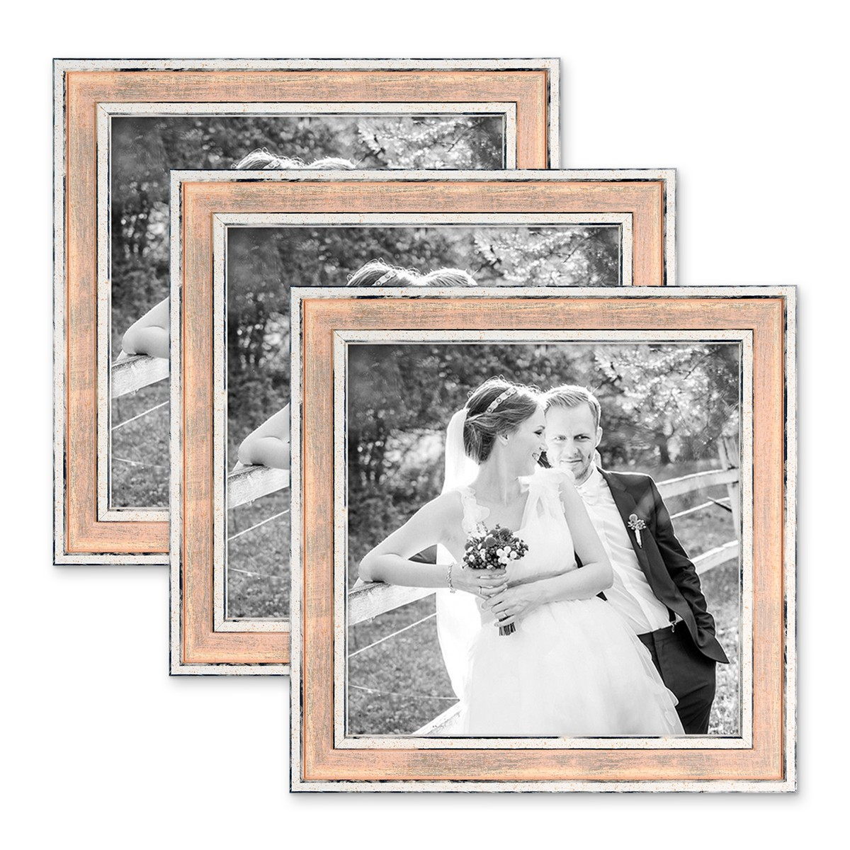 3er Set Bilderrahmen Pastell / Alt-Weiß Rosa 20x20 cm Massivholz mit ...