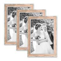3er Set Bilderrahmen Pastell / Alt-Weiß Rosa 21x30 cm / DIN A4 Massivholz mit Vintage Look / Fotorahmen / Wechselrahmen
