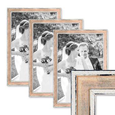 3er Set Bilderrahmen Pastell / Alt-Weiß Rosa 30x42 cm / DIN A3 Massivholz mit Vintage Look / Fotorahmen / Wechselrahmen