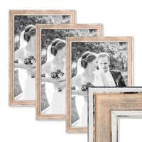 3er Set Bilderrahmen Pastell / Alt-Weiß Rosa 30x45 cm Massivholz mit Vintage Look / Fotorahmen / Wechselrahmen – Bild 1