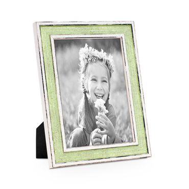 Bilderrahmen Pastell / Alt-Weiß Hellgrün 13x18 cm Massivholz mit Vintage Look / Fotorahmen / Wechselrahmen