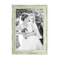 Bilderrahmen Pastell / Alt-Weiß Hellgrün 21x30 cm / DIN A4 Massivholz mit Vintage Look / Fotorahmen / Wechselrahmen – Bild 1