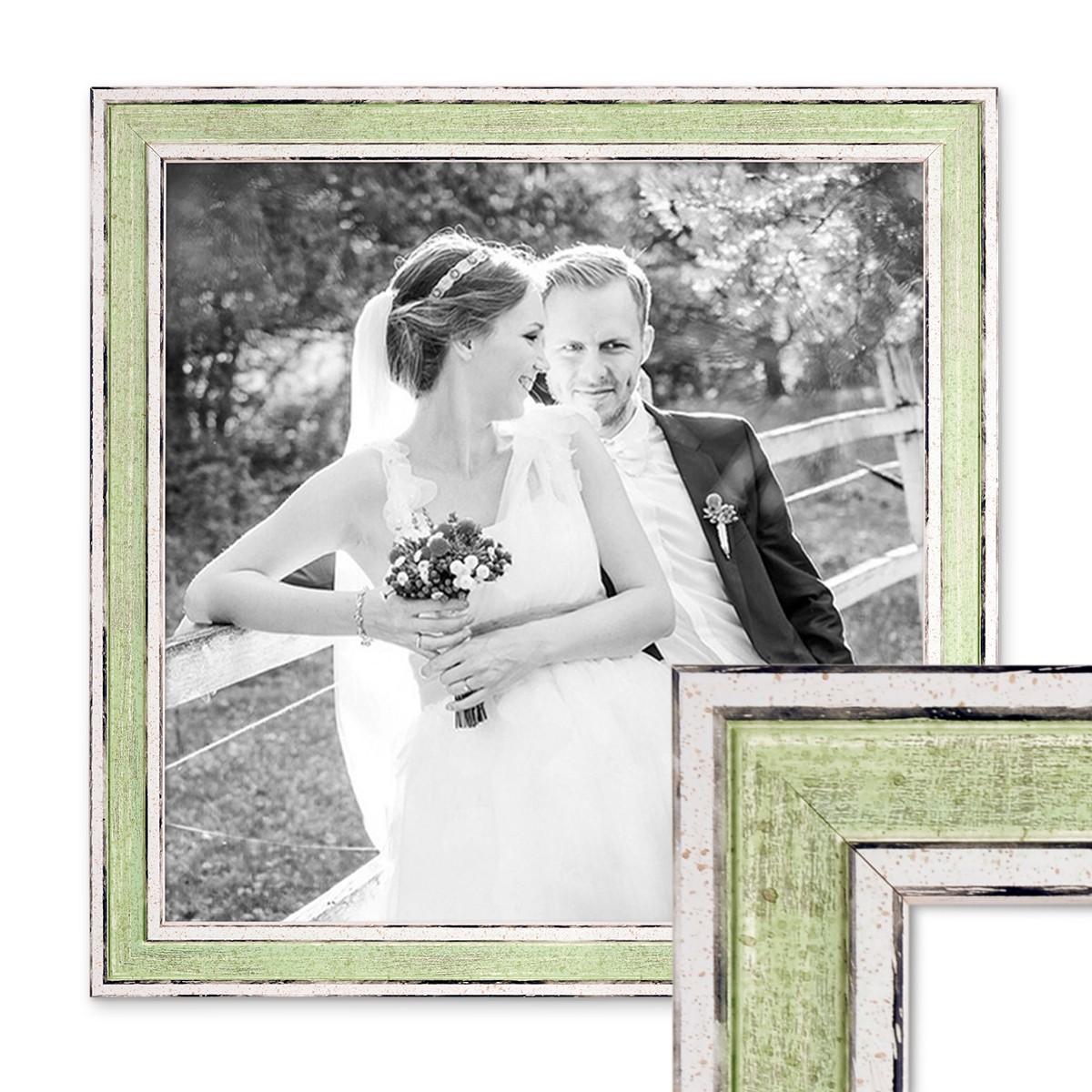 Bilderrahmen Pastell / Alt-Weiß Hellgrün 30x30 cm Massivholz mit ...