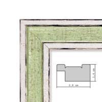 Bilderrahmen Pastell / Alt-Weiß Hellgrün 30x42 cm / DIN A3 Massivholz mit Vintage Look / Fotorahmen / Wechselrahmen – Bild 2