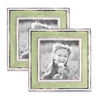 2er Bilderrahmen-Set 10x10 cm Pastell Vintage Look Hellgrün