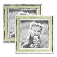 2er Set Bilderrahmen Pastell / Alt-Weiß Hellgrün 15x15 cm Massivholz mit Glasscheibe und Aufsteller und Zubehör / Fotorahmen / Wechselrahmen – Bild 1