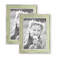 2er Set Bilderrahmen Pastell / Alt-Weiß Hellgrün 18x24 cm Massivholz mit Vintage Look / Fotorahmen / Wechselrahmen – Bild 1