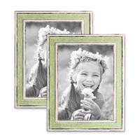 2er Bilderrahmen-Set 18x24 cm Pastell Vintage Look Hellgrün