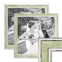 2er Set Bilderrahmen Pastell / Alt-Weiß Hellgrün 30x30 cm Massivholz mit Vintage Look / Fotorahmen / Wechselrahmen