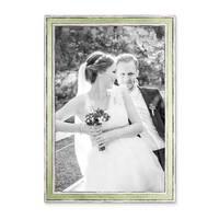 2er Set Bilderrahmen Pastell / Alt-Weiß Hellgrün 30x40 cm Massivholz mit Vintage Look / Fotorahmen / Wechselrahmen – Bild 4